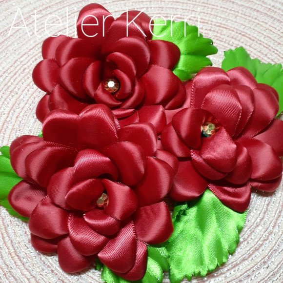 3pc Scarlet Red Satin Flower Set with Leaves